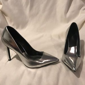 Zara Basic Collection Silver Point Toe Heels 38